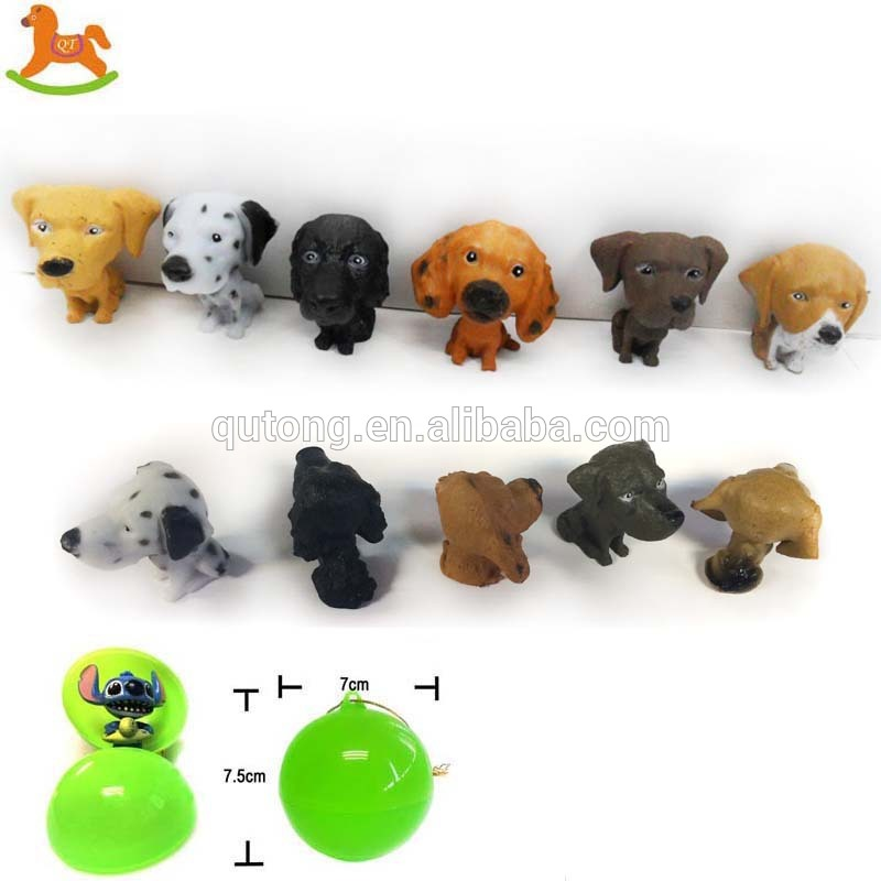 Fake Toy Dogs : Small plastic animal cat and dog figurines capsule toy