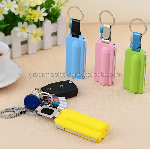 2017 Wholesale Power Bank 2600mAh Gift Bullet Built-In Data LIne Power Bank 2600mAh Mini