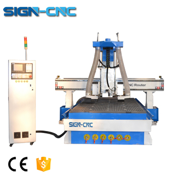 Horizontal one spindle with auto tool changer wood cutting cnc router price