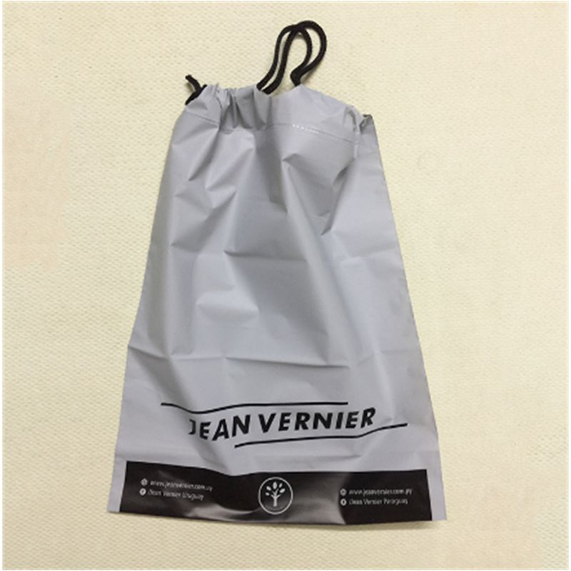 Custom pe cpe material two layers plastic glasses packaging drawstring bag