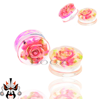 Ear gauges popular multi-color flower piercing body jewelry plugs and tunnels Wholesale in China