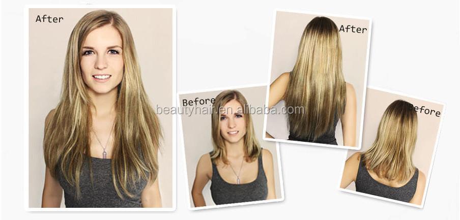 Cheap 100 Human Hair Triple Weft Two Tone 220 Grams Seamless Grey