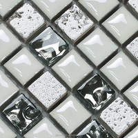 Mesh-mounted White Glass And Porcelain Mix Mosaic Tile