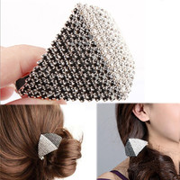 2016 NEW Fashion Vintage Triangle Claws Hairpin Duck Clips & Pins Crystal Rhinestones Hair Accessory MoonSo KF030