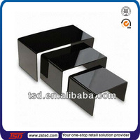 TSD-A441 Custom high quality table top Black stack acrylic riser display fixtures,acrylic riser stand,acrylic display riser