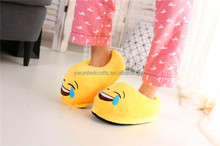 Popular pretty plush import emoji slippers factory