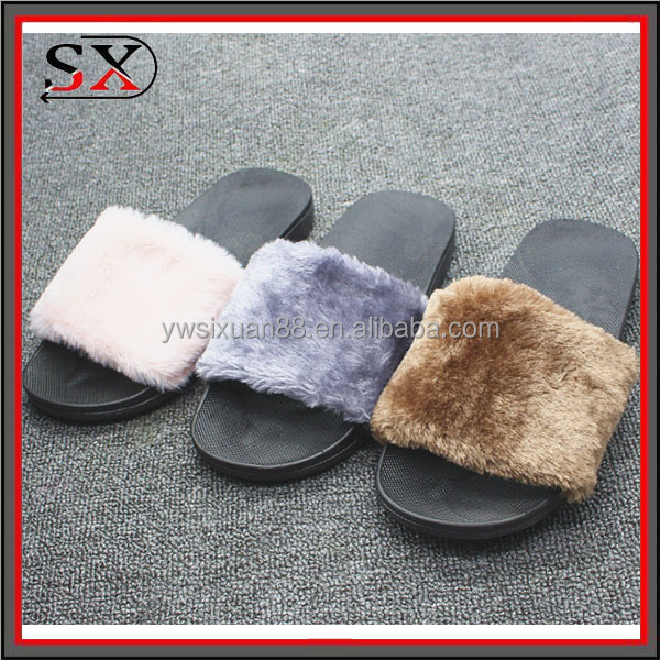 2017 women new winter spring slide fox fur sandal slipper home indoor shoes