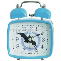 Square shape metal double bells alarm clock in blue color