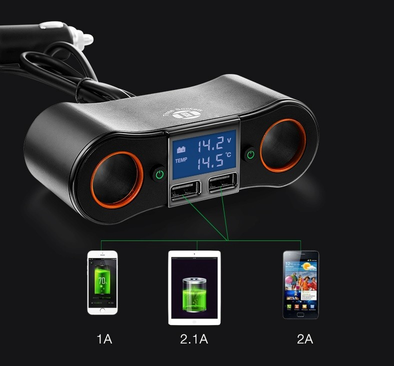 GXYKIT Universal 2 USB cup holder Car Charger for Smart phone with 2 cigarette lighter sockets