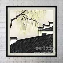 Tranditional roof and salix nice design handmade oil painting