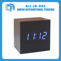 Mini creative voice control LED thermometer black wood clock with blue digital