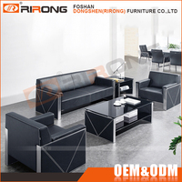 Modern luxury office sofa set stainless steel frame black genuine leather sofa