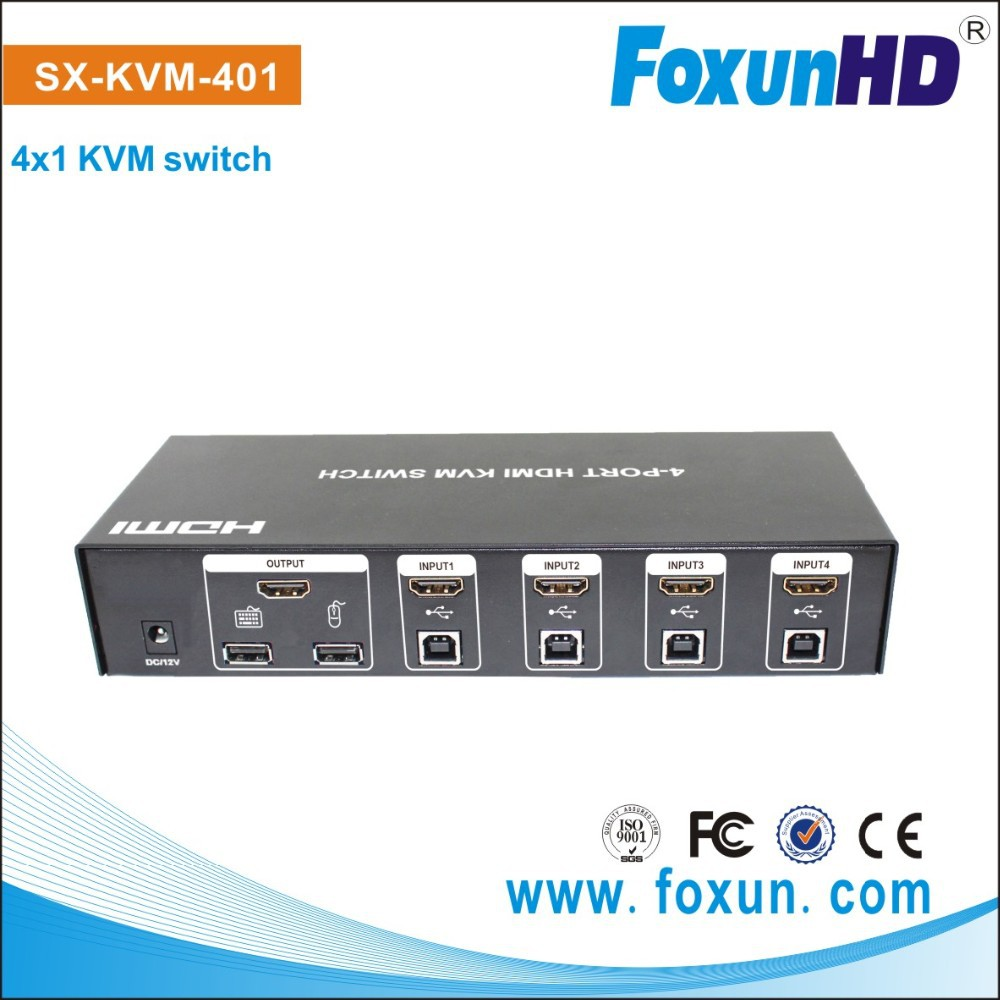 4 ports supported hot key using 1 set of Keyboard mouse and monitor to control 4 host devices HDMI KVM switch