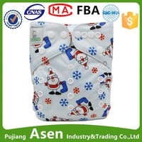 Asenappy Cuties Printed One Size Adjustable Natural Pocket Diapers Diapers Marry Christmas design