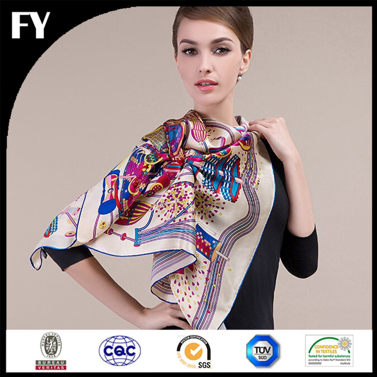 High quality factory direct custom digital printed twill silk scarf square scarf