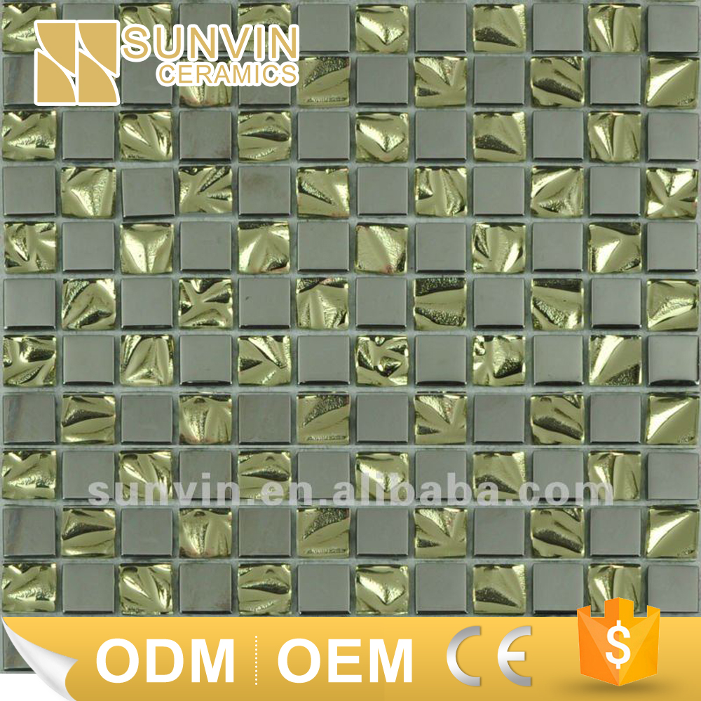 Gold and slivery electroplated glass mosaic tile factory in China