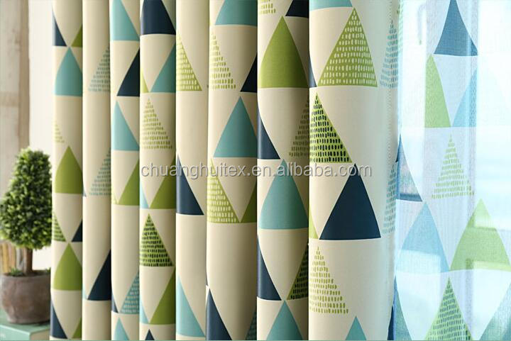colorful triangle tranfer printing blackout fabric for curtain