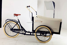 High quality three wheel cargo bike/cargo tricycle/reverse trike UB9032 with wooden box for sale