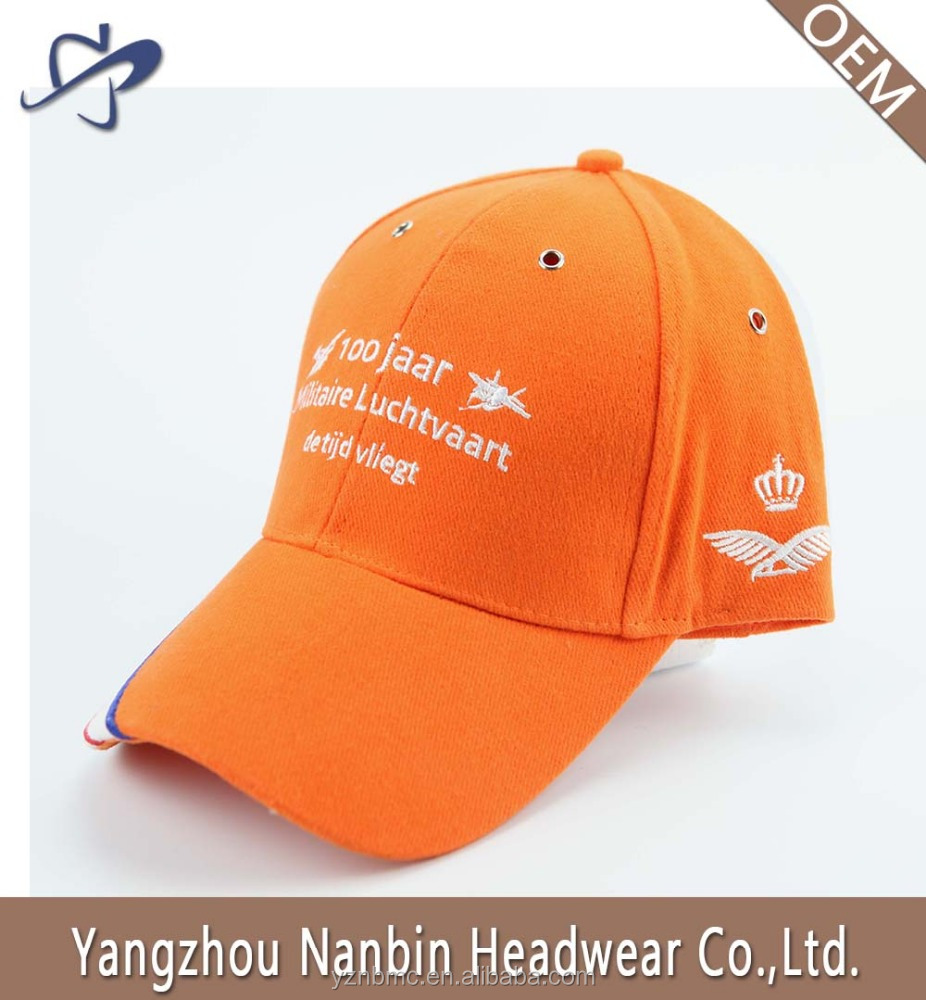 OEM promotional High quality brushed cotton 6 panel baseball cap sports hat with flat embroidery and metal eyelets