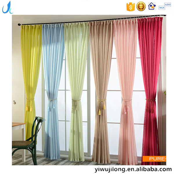 Hotselling custom solid color transparent Linen dyeing gauze window curtain