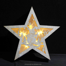 Glitter wood star shaped LED lights for Christmas decor