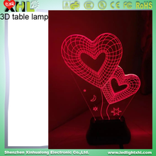 Wholesale unique gift for children 3d effect led night lamp Colorful valentine day Led Night Light