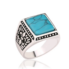 Vintage Native American Handmade Sterling Silver Plated Blue Square Shape Turquoise Stone <strong>Ring</strong>