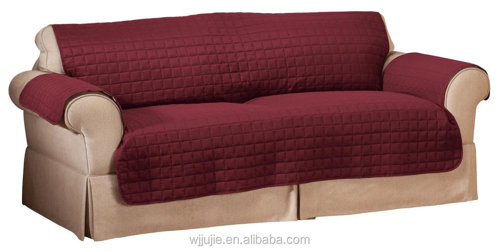 Good Quality Quilted Pattern Microfiber Sofa Furniture Protector Sage