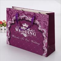 Resealable decoration handmade wedding gift paper bag with ribbon