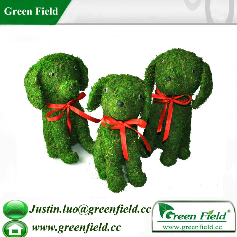 Dog Plant Fiber Frame Topiary with Moss
