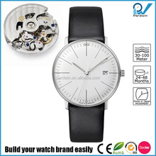 Germany design brand timepiece italian genuine leather strap mechanical watch sapphire glass minimalist watch