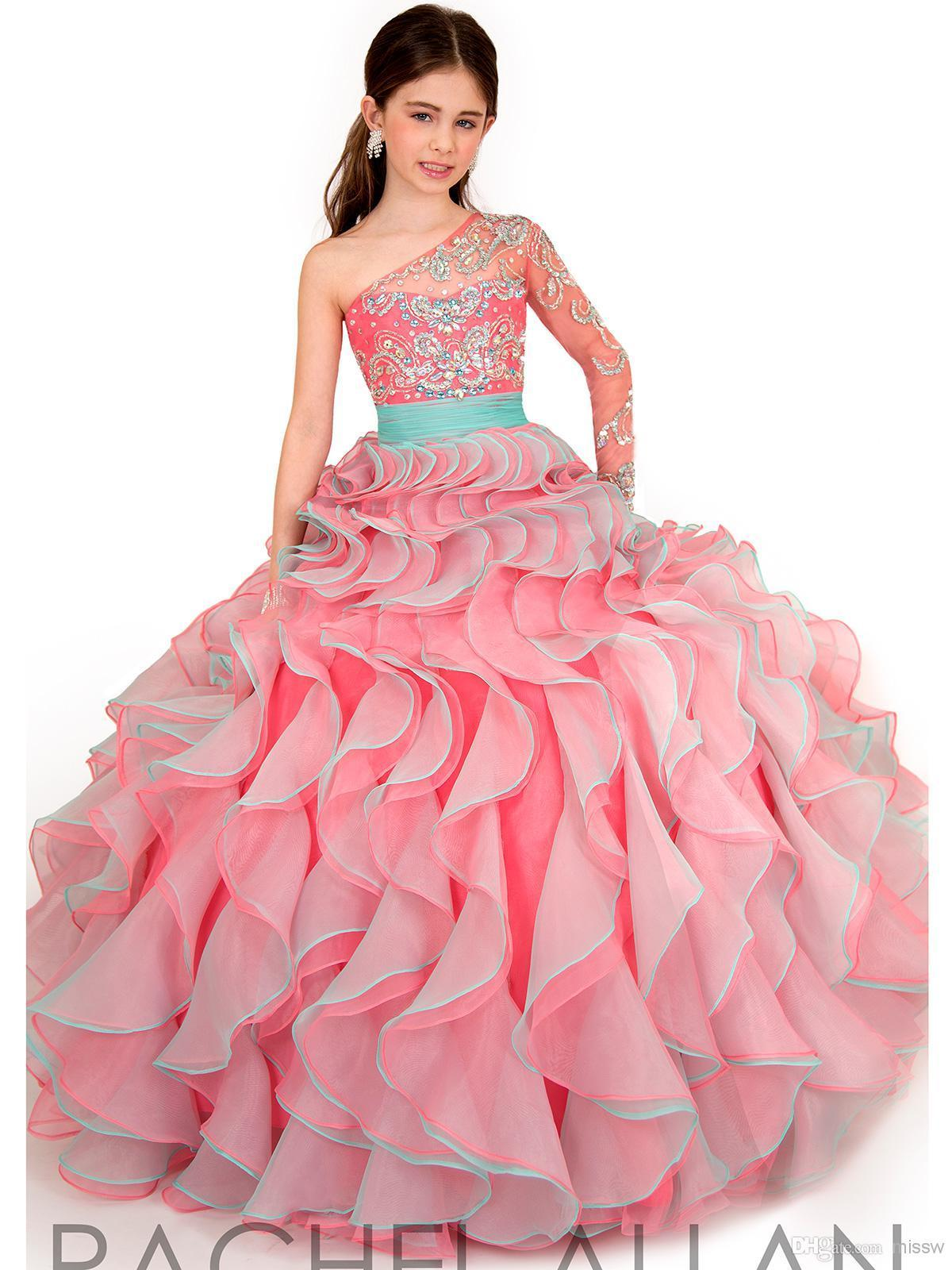 Buy hot sale 2015 ball gown little girls pageant dresses one buy hot sale 2015 ball gown little girls pageant dresses one shoulder long sleeve cheap flower girls39 dress for weddings af19 in cheap price on izmirmasajfo