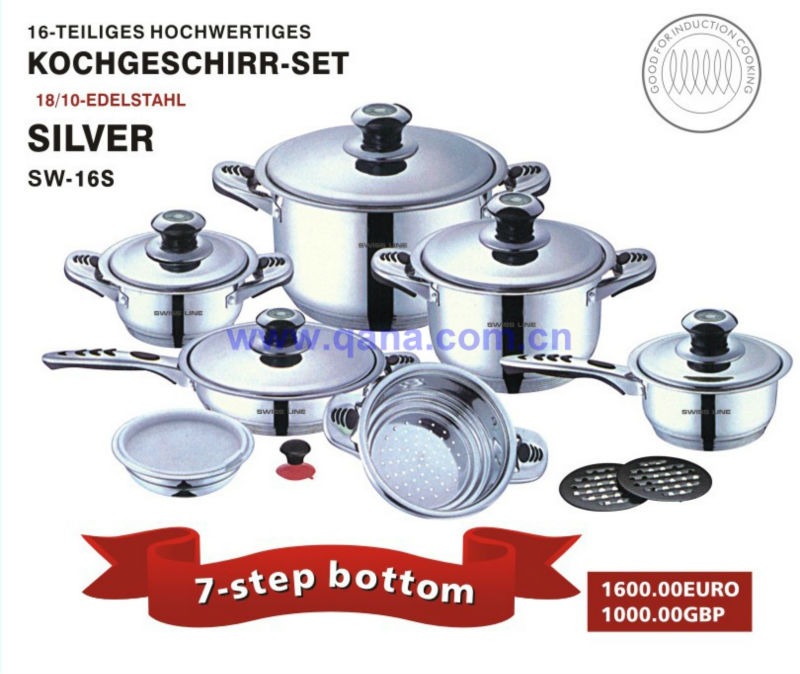As seen on tv kitchen supplies wholesale 16pcs stainless for Buy kitchen cookware