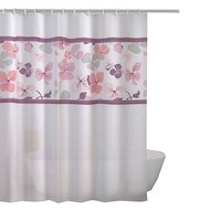 Waterproof polyester pink European style shower curtain for bathroom washing