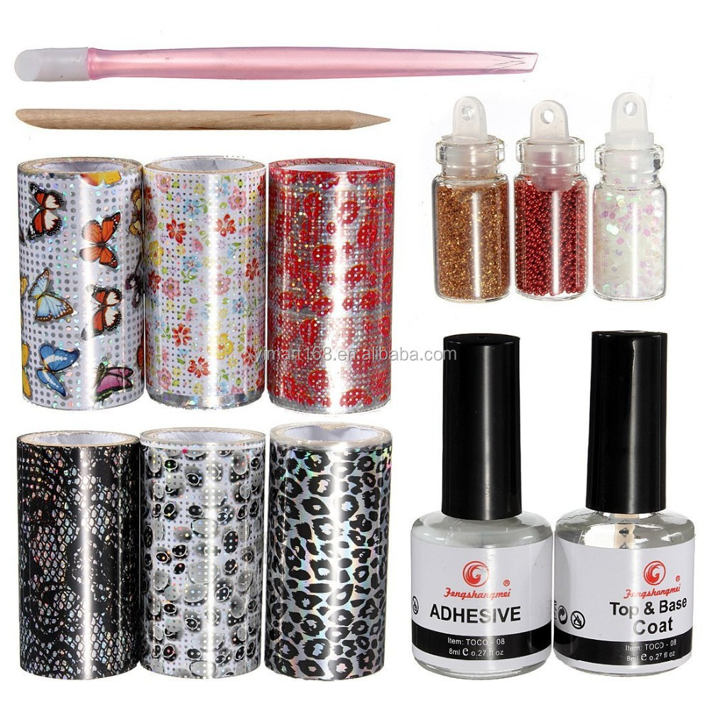 Best Nail Art Glue : Nail art foil tips design transfer foils kit adhesive top base