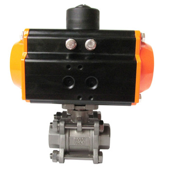 Q611F thread SS316 pneumatic 3pieces ball valve price