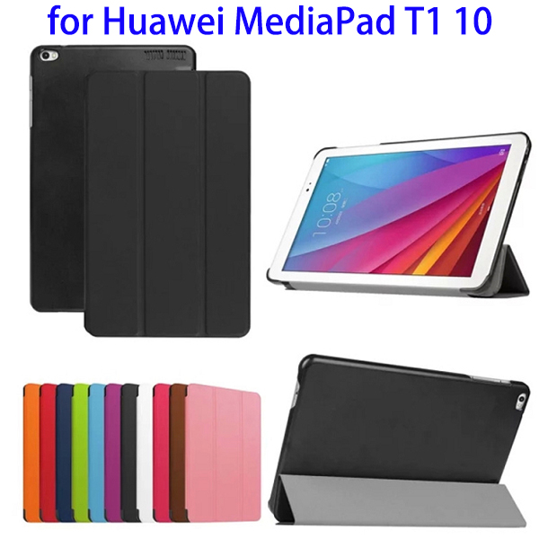 New Products 3-Folding Design PU Leather Protective Cover Case for Huawei MediaPad T1 10