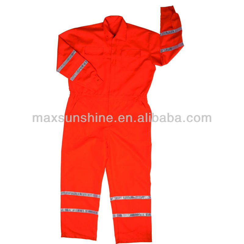 High Visibility 100% Cotton Coverall with Reflective Strips