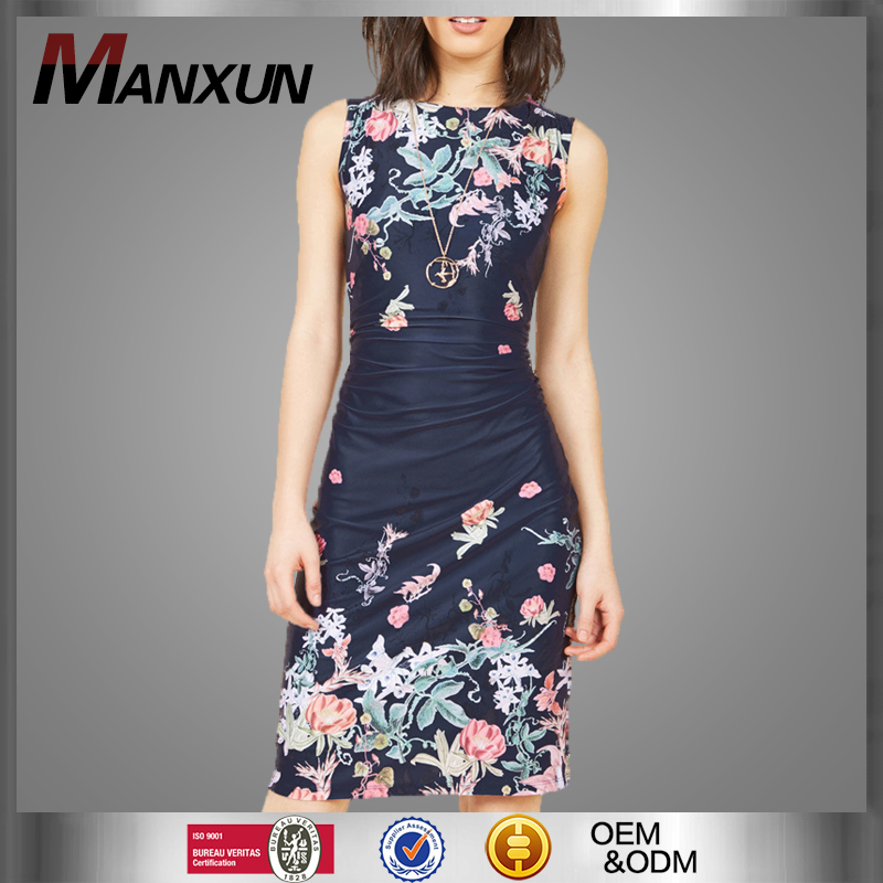 Women Fashion Dress Summer Floral Print Retro Casual Party Vintage Bodycon Bandage Dresses Casual Ladies Clothing
