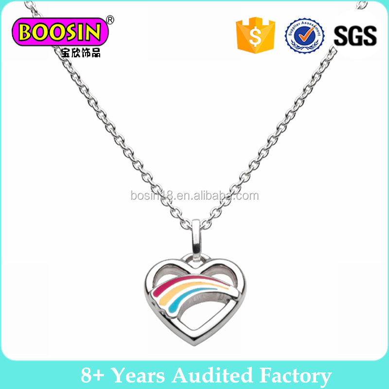 Fashion New Silver Rainbow Heart Necklace #178