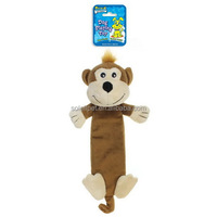 Fashion Coffee Monkey Shaped Plush Dog Sex Toy With Plastic Bottle Squeaker