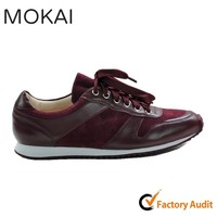 002-1 DEEP WINE hot sale comfortable global trend china manufaturer leather sports shoe