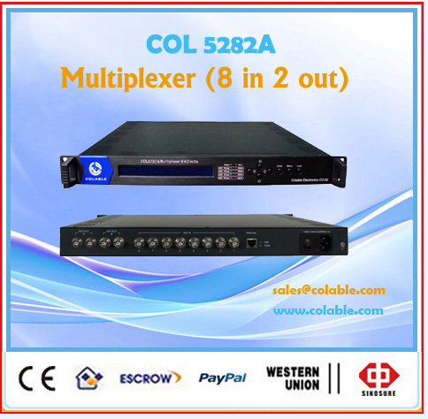 8 ASI inputs TS stream Mux/remultiplexer mpeg2,dvb multiplexer 2 separate ASI output COL5282A