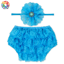 Wholesale Fashion Style Ruffly Rumps Infant Girls Turquoise Lace Bloomer Diaper Cover Baby Girl Bloomer