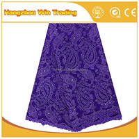 London lace fabric embroidery stone chantilly purple beaded lace fabric