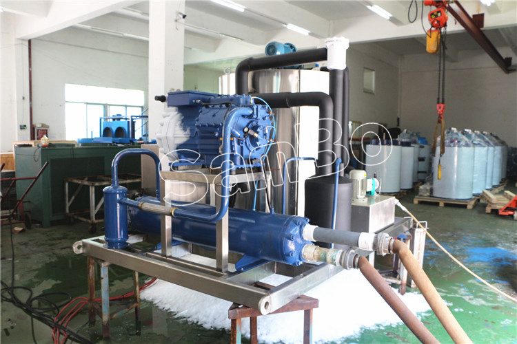 Water Cooled Bitzer Or Bock Compressor Used Industrial Ice Flake Making Machines 8Tons From SamBo