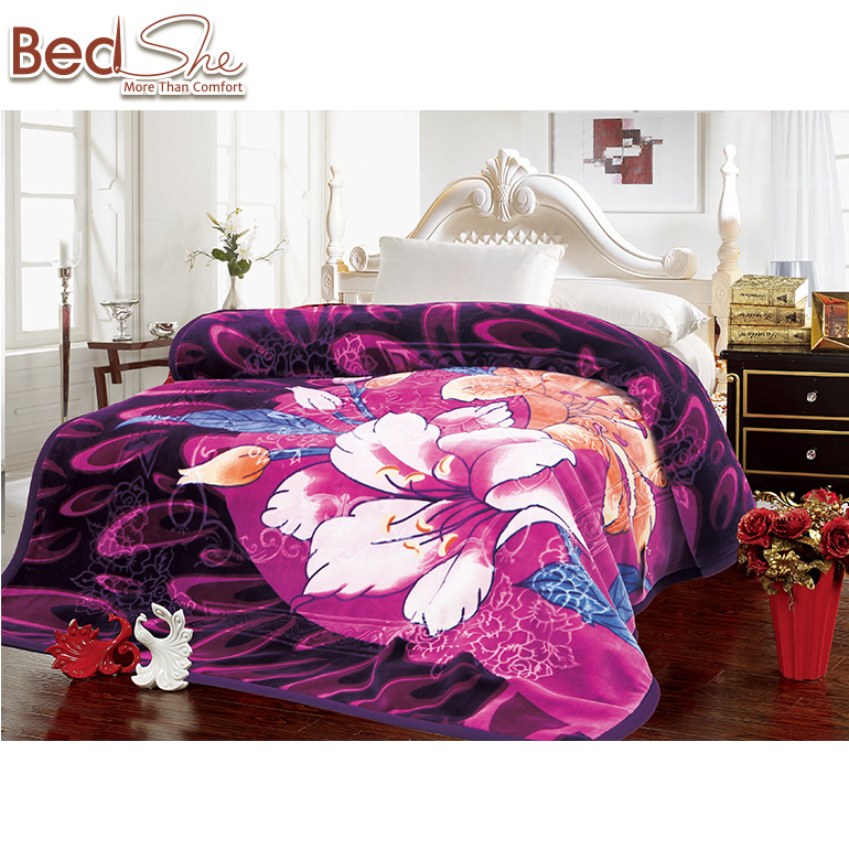 Bedshe india wholesale purple lily printed 2ply mora blanket