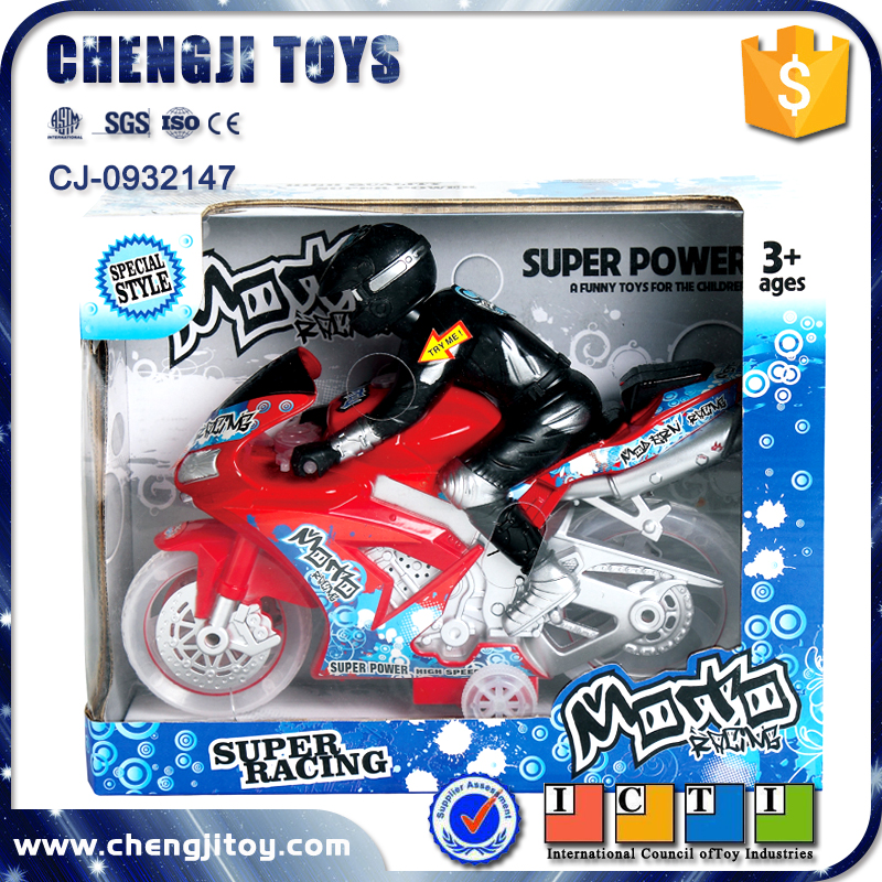 Plastic battery operated pull back racing motorcycle toys with music
