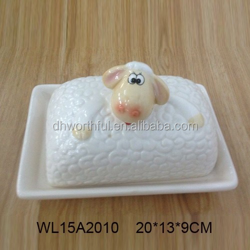 Lovely sheep ceramic butter plate