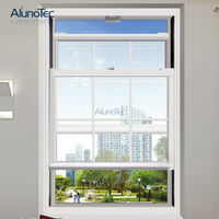 Aluminum Double Hung Sash Window Sliding Vertical American Style Window